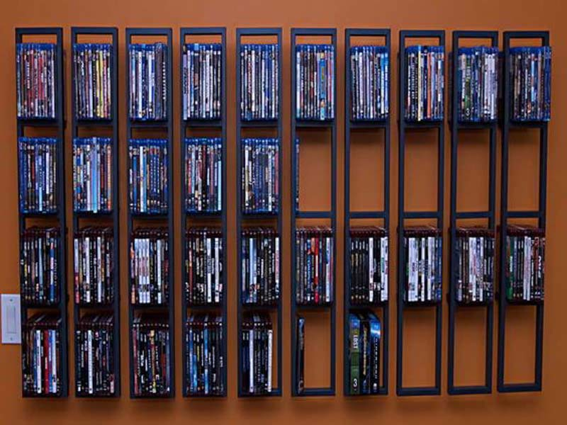 Artsy, homogenous wall shelving will make your DVD collection look like a work of art.