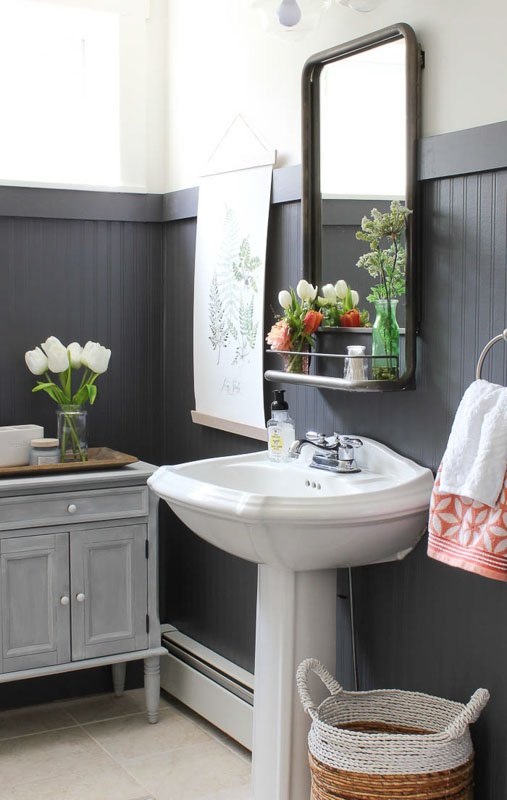 Farmhouse-classic bathroom with Sherwin Williams Peppercorn beadboard.