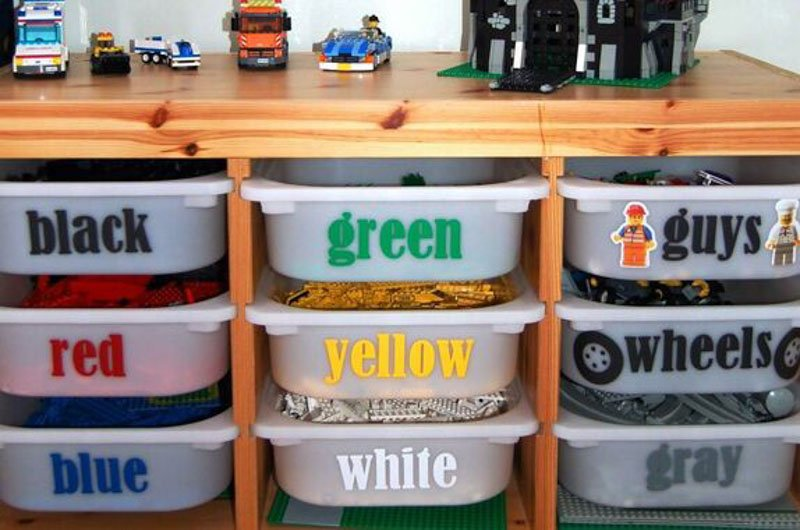 Ideas for storing Legos by color