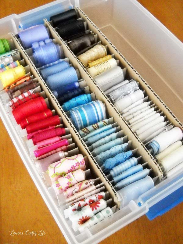 Ribbon Storage and Organization from Laura's Crafty Life.