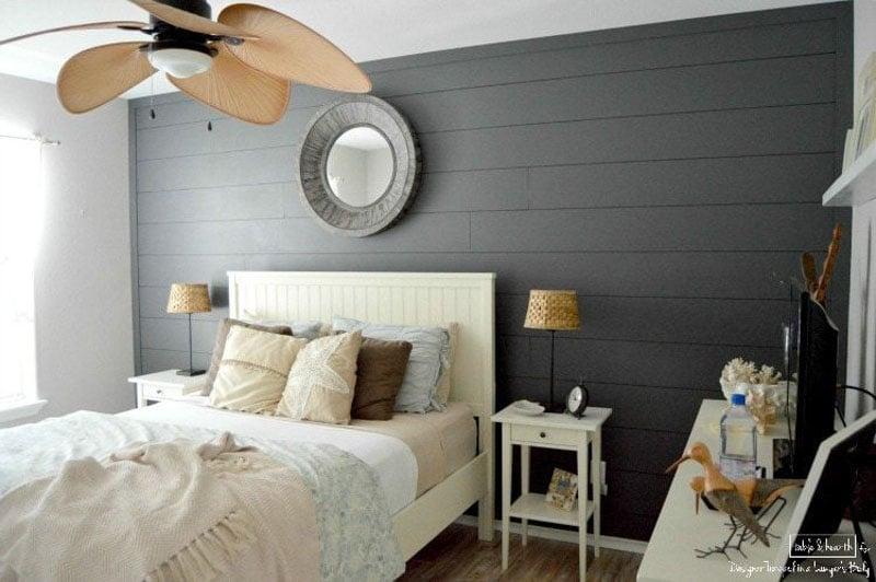 Peppercorn shiplap in a beachy coastal bedroom.