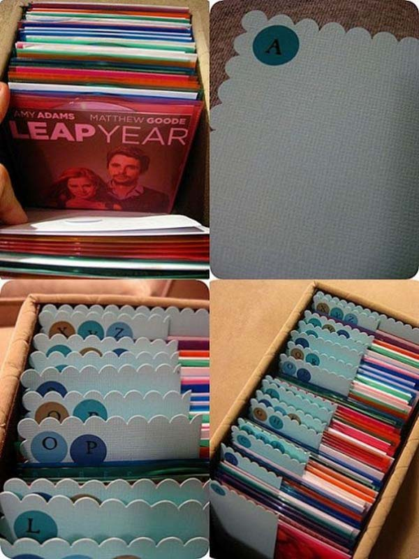 DIY DVD storage ideas: plastic sleeves and alphabetized organization.