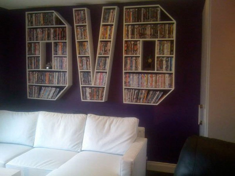 Wall shelving for DVDs in awkward spaces.