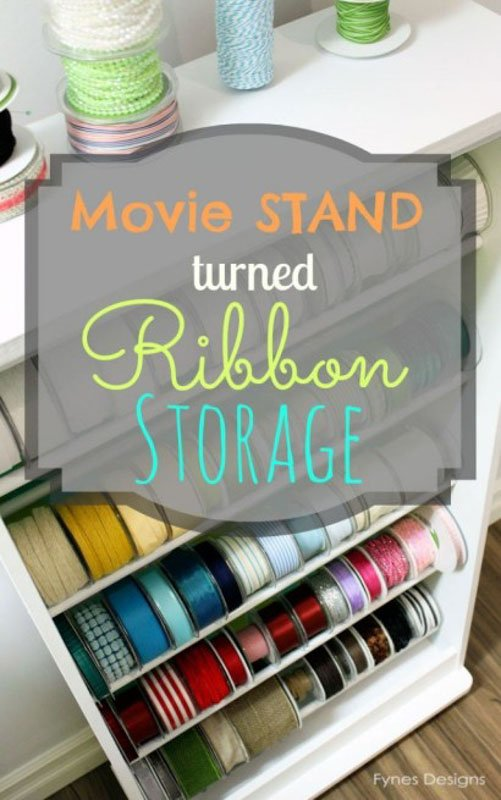 Movie Stand Ribbon Storage hack from Fynes Designs.
