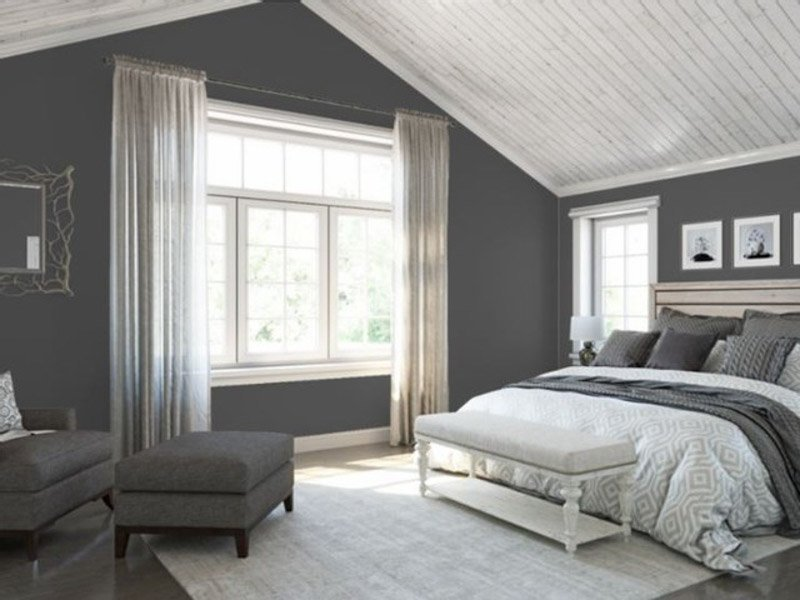 Attic bedroom in layered shades of gray, and Sherwin Williams Peppercorn on the walls.