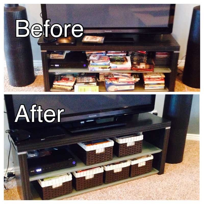 Organize your media console with attractive bins for your DVDs.