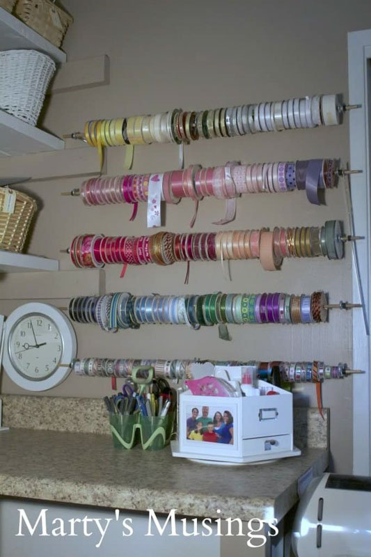 Ribbon wall organization by Marty's Musings.