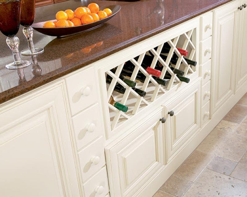 Simple kitchen built-in wine racks.