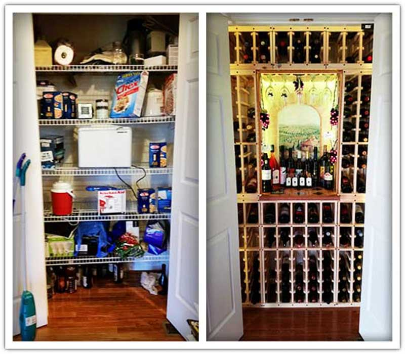 Pantry transformation into a mini wine cellar.