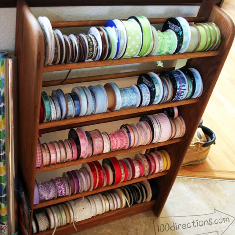 Simple Ribbon Organizer DIY using a shoe rack from 100 Directions.