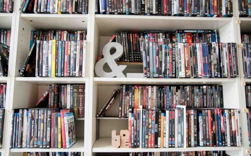 Attractive DVD storage ideas: home library approach.