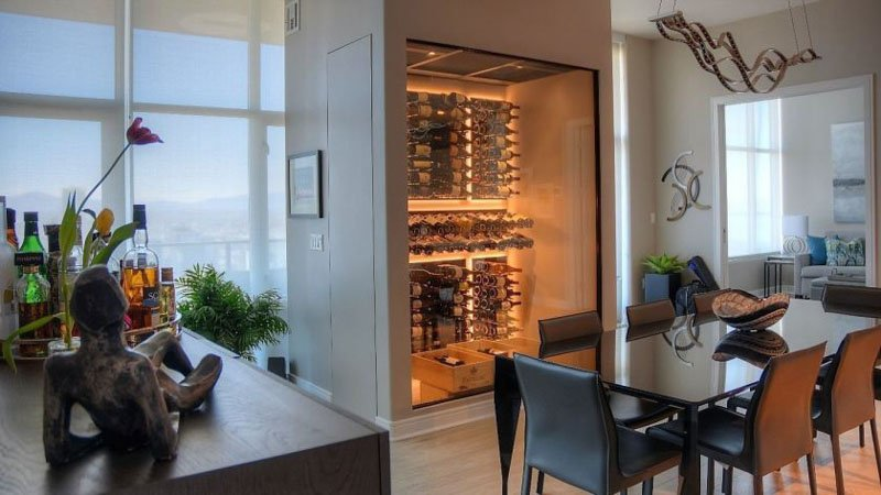 Large, walk-in temperature controlled wine pantry.