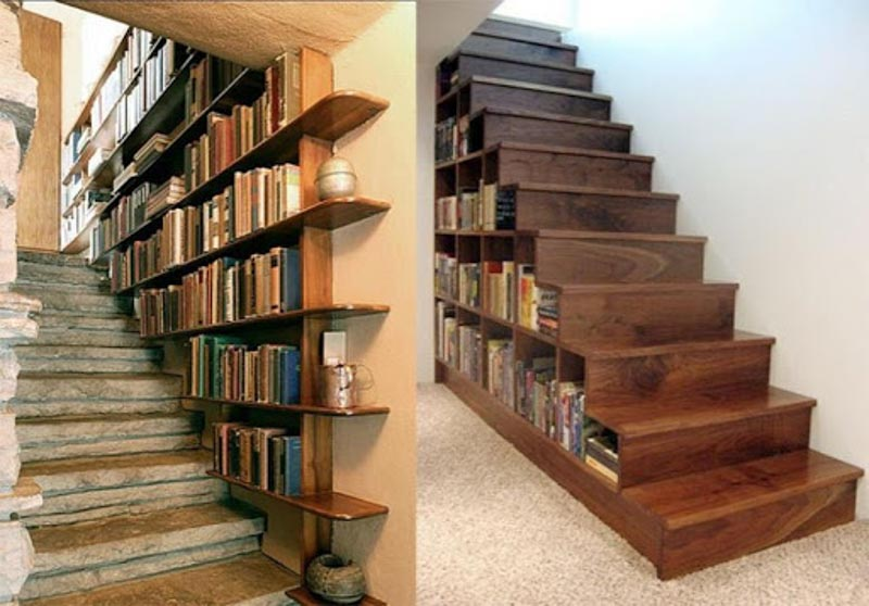 Old bookshop vibes with stair storage for DVDs.