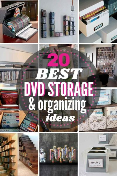 "grid with 12 DVD storage ideas, text ""20 best DVD storage and organizing ideas"""