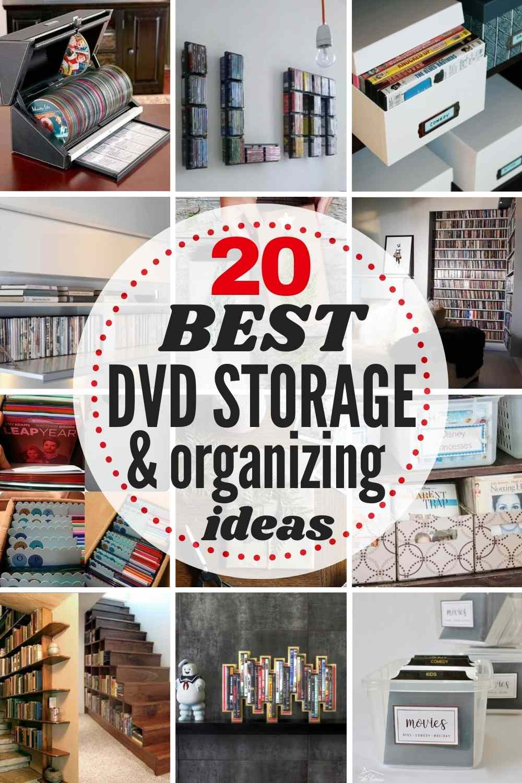 "grid with 12 DVD storage ideas, text ""20 best DVD storage and organizing ideas"""