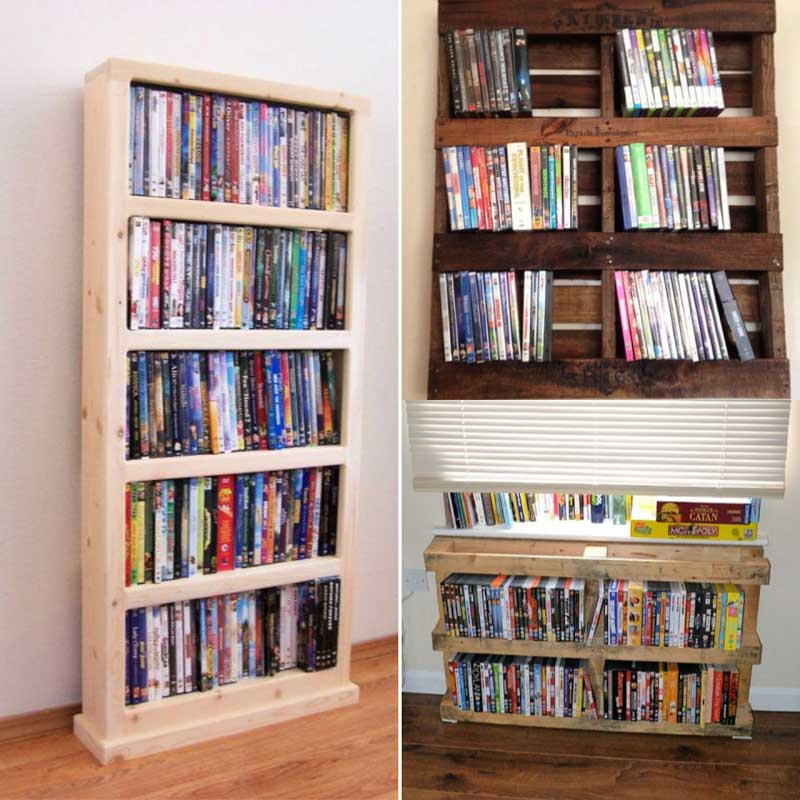 DVD storage ideas using pallets and bookshelves