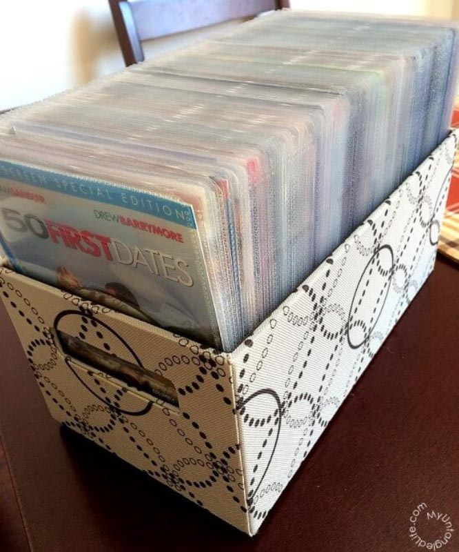 Use plastic sleeves to organize your DVD collection.