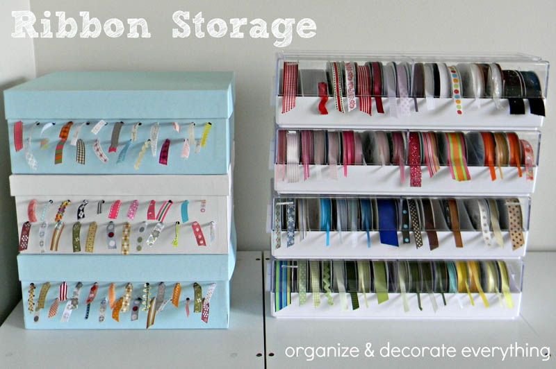 Cheap shoe box storage for ribbons by Organize Your Stuff Now.