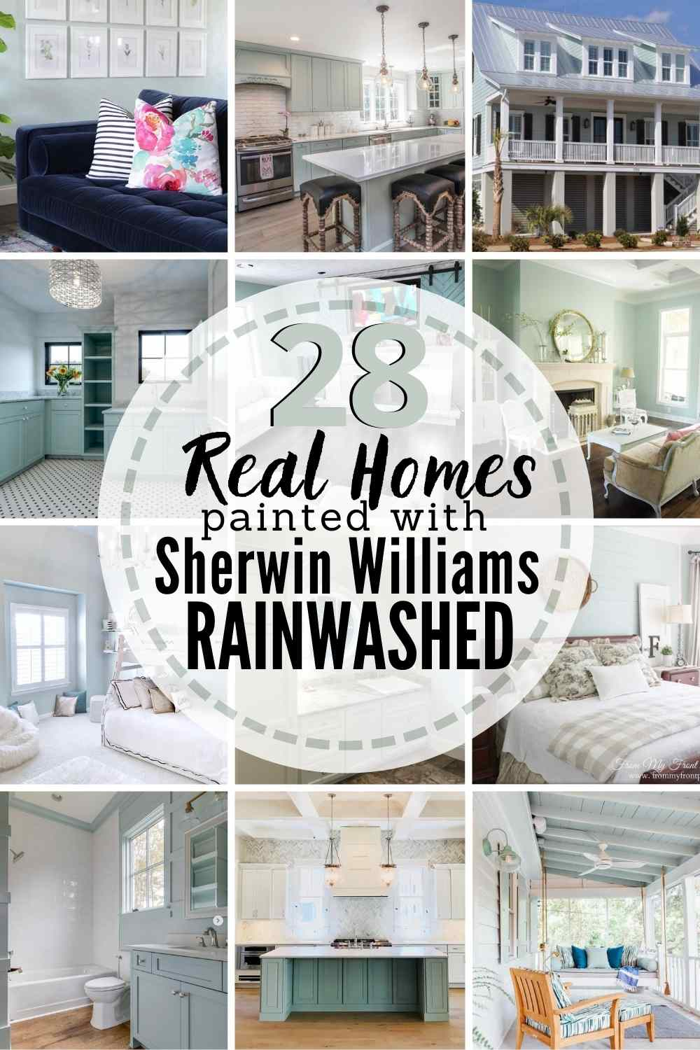 "grid with 12 examples of Sherwin Williams Rainwashed in real homes. text"" 28 real homes painted with Sherwin Williams Rainwashed"""