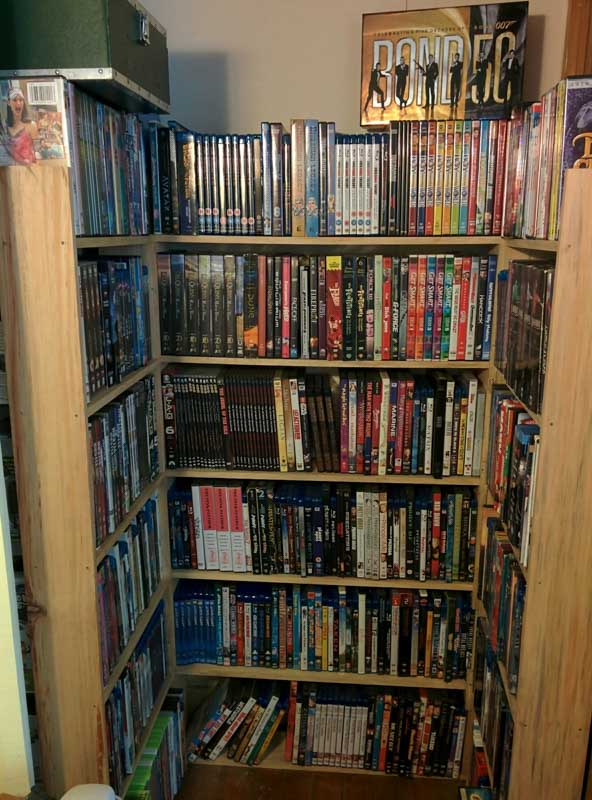 Store DVDs in a closet that looks like a used bookstore.