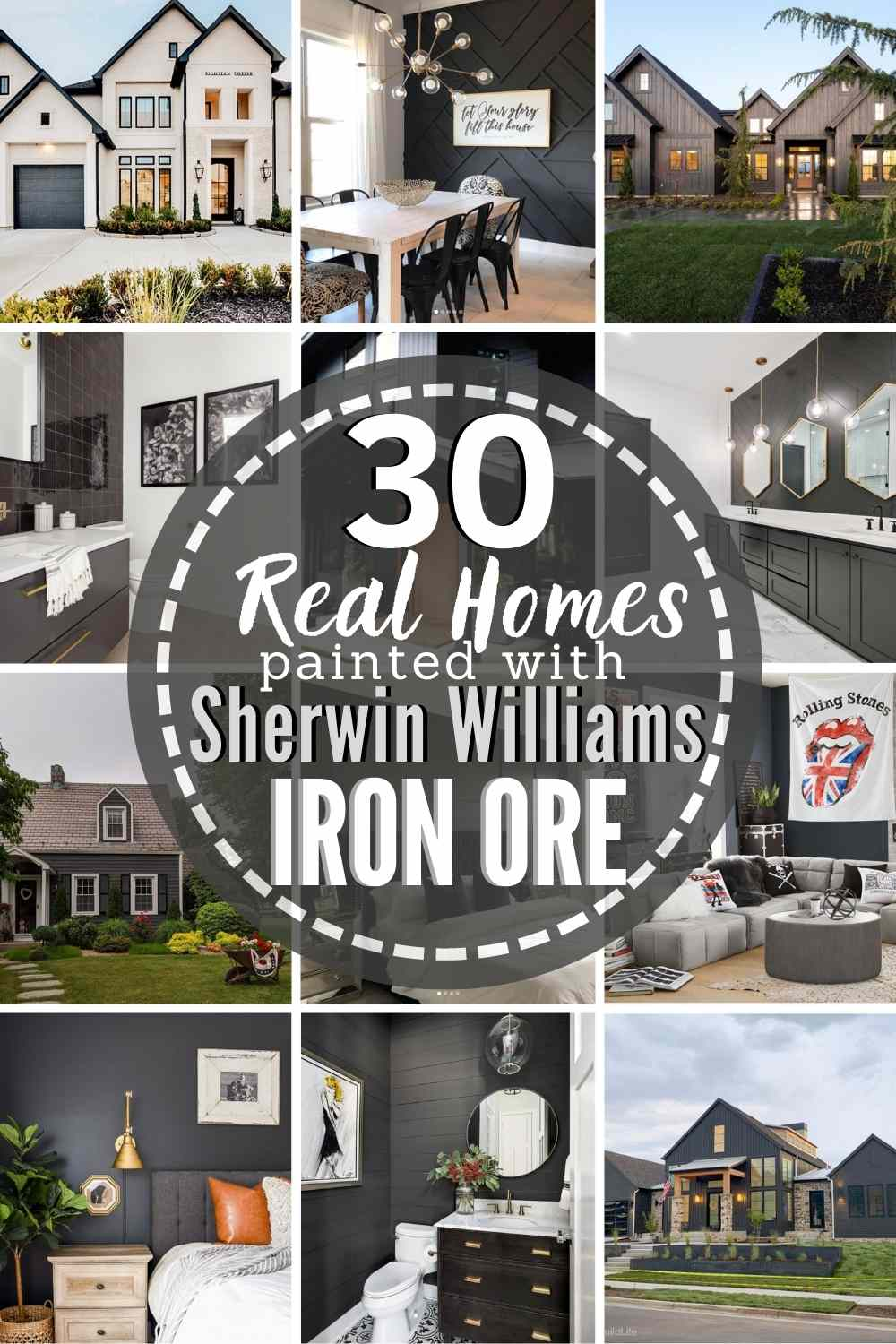 "grid with 12 examples of Iron Ore paint-text ""30 Real Homes Painted With Sherwin Williams Iron Ore"""