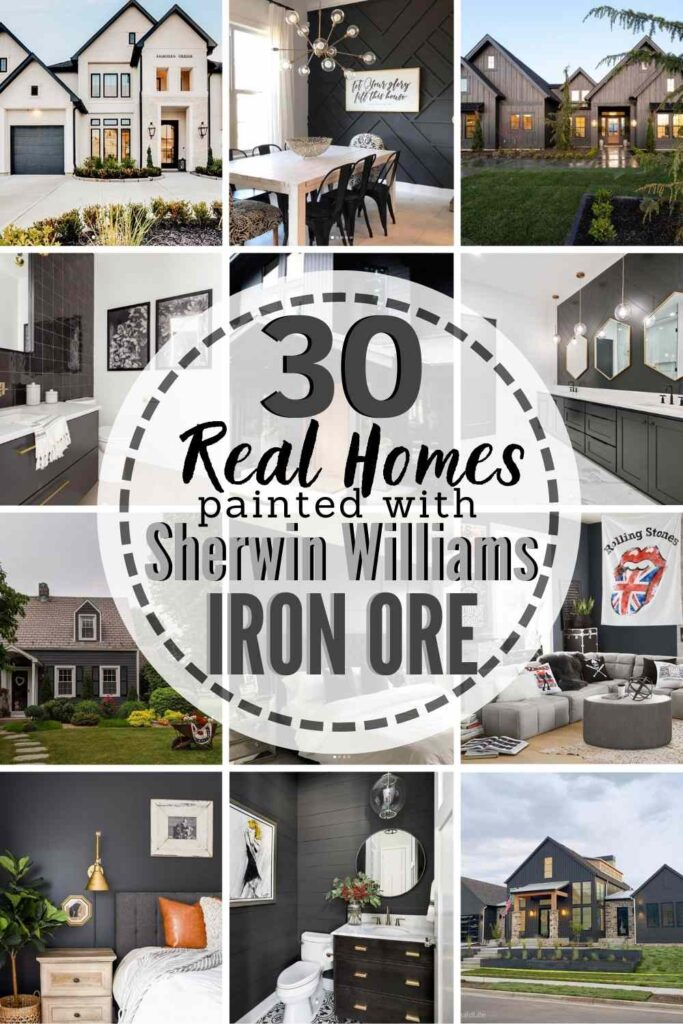 """grid with 12 examples of Iron Ore paint-text """"30 Real Homes Painted With Sherwin Williams Iron Ore"""""""