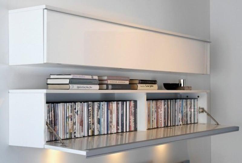 Sleek, Scandinavian minimalist storage for DVDs.