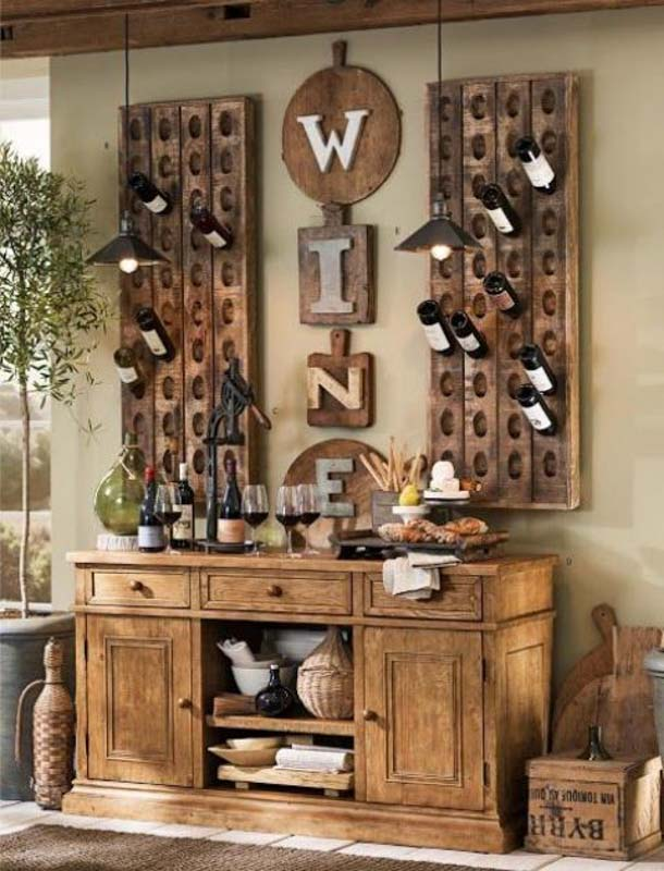Rustic wooden wall mounted wine storage.