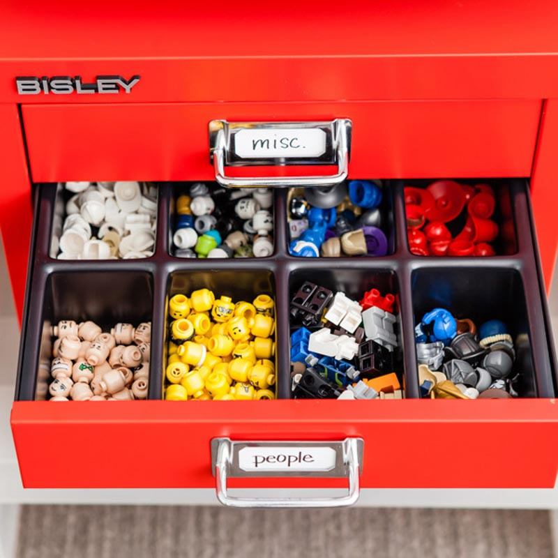 Container Store storage cabinets for organizing Legos