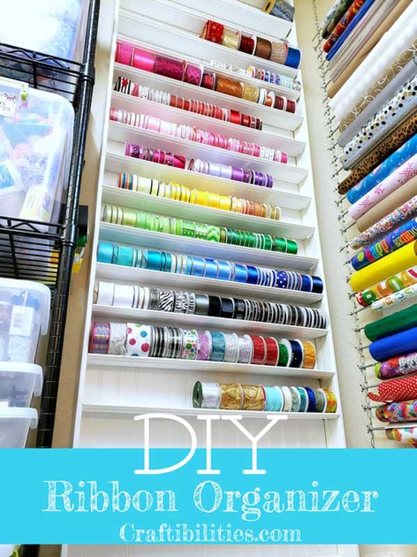 DIY ribbon shelf organizer tutorial from Craftibilities.