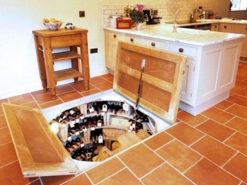 Below ground secret wine cellar.