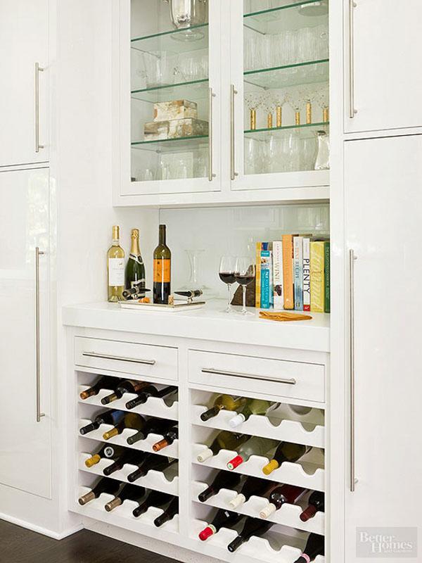 Chic, glossy white wine cabinet.