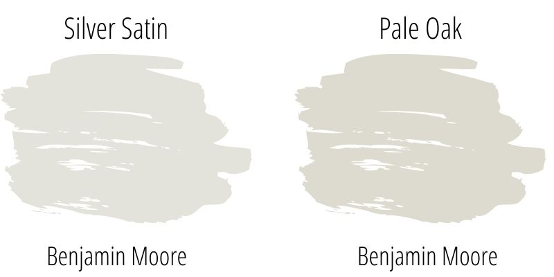 Benjamin Moore Silver Satin versus Pale Oak paint swatch comparison