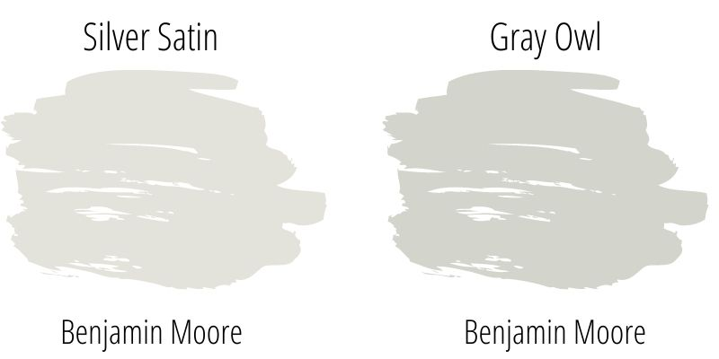 Benjamin Moore Silver Satin versus Gray Owl paint swatch comparison