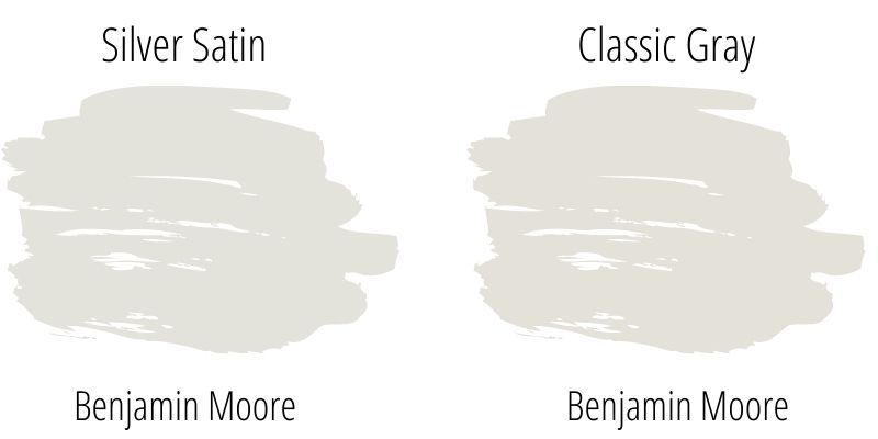 Benjamin Moore Silver Satin versus Classic Gray paint swatch comparison