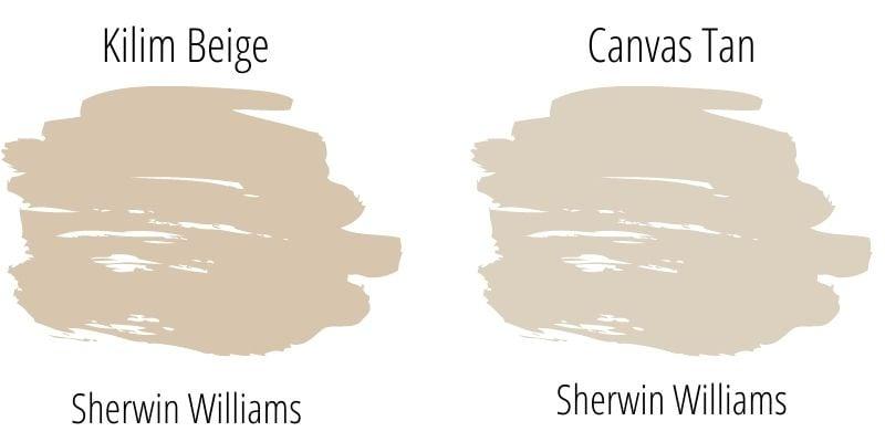 Kilim Beige vs Canvas Tan Paint Swatch Comparison