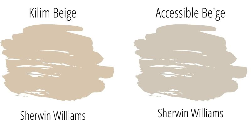 Sherwin Williams Kilim Beige vs Accessible Beige Paint Swatch Comparison
