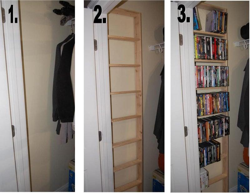 DVD shelf built behind the door