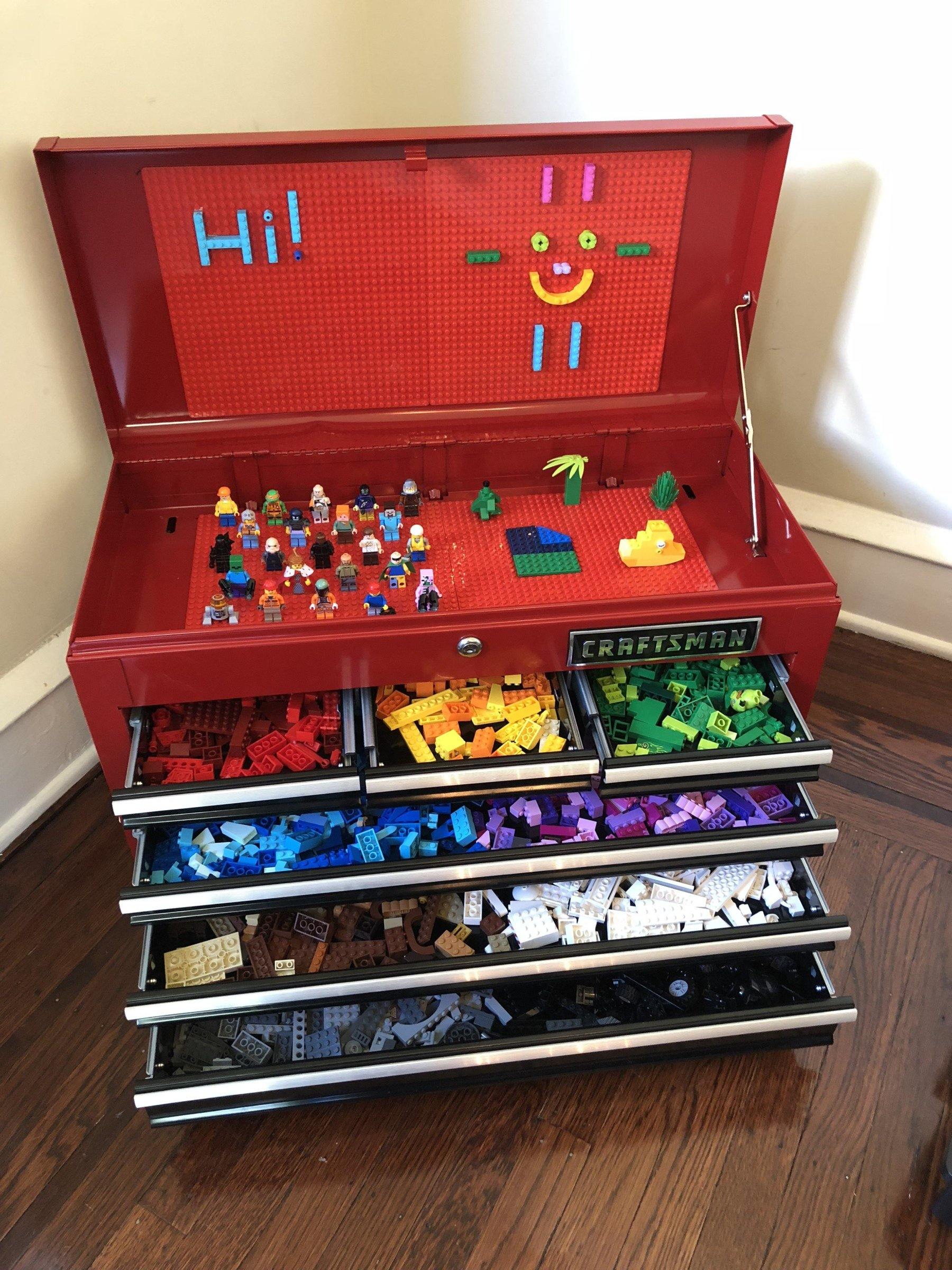 Lego storage made out of a rolling tool box