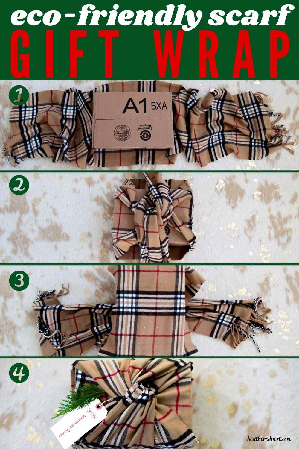 4 steps for easy, eco-friendly holiday gift wrap they'll want to keep! Use a winter scarf for your gift wrap this year!