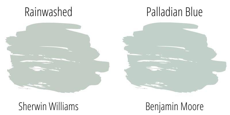 swatch comparison sherwin williams rainwashed versus benjamin moore palladian blue
