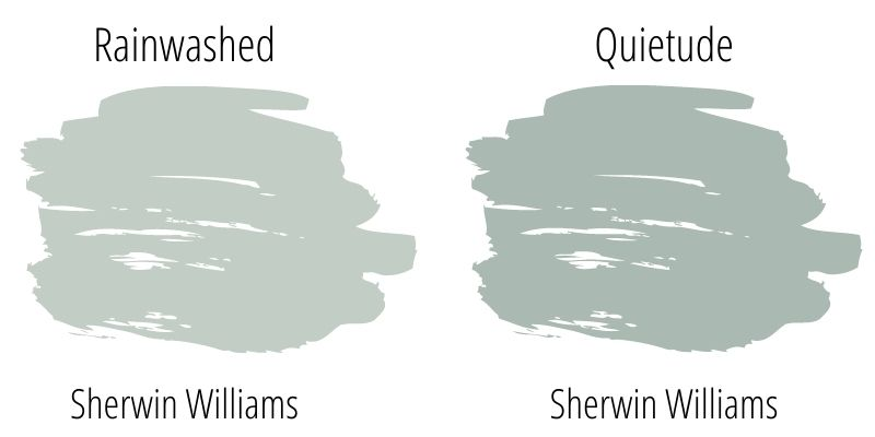 swatch comparison sherwin williams rainwashed versus sherwin williams quietude
