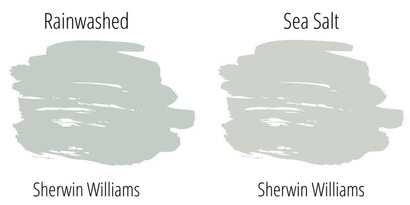 swatch comparison sherwin williams rainwashed versus sherwin williams sea salt