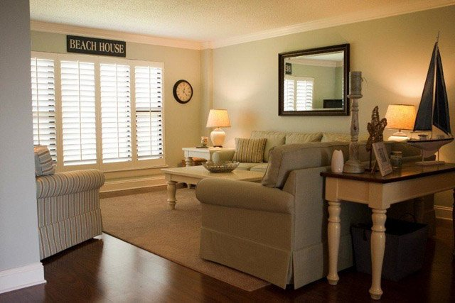 Quiet Moments paint color works great with coastal themed decor.