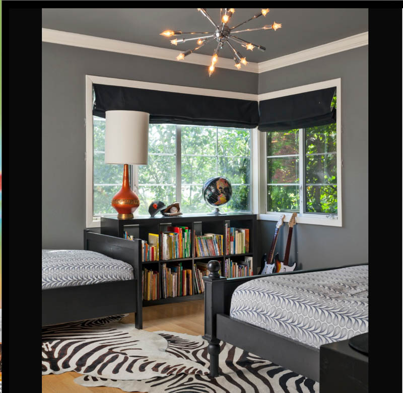 Bold bedroom with walls and ceiling in Chelsea Gray paint, contrasting with white trim.