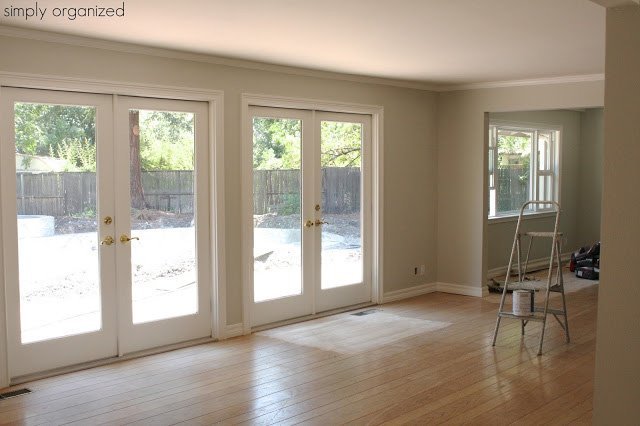 Silver Drop Behr paint gives a warm yet light and airy feel to this living space.
