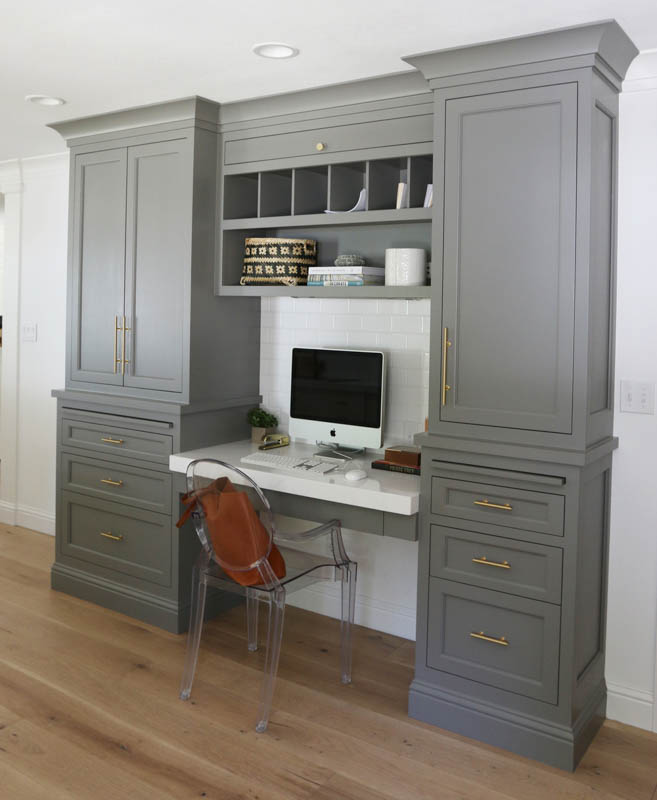 Benjamin Moore Chelsea Gray looks great as a built-in cabinet color when paired with gold hardware.