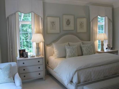 Bedroom with white decor palette and wall color in Quiet Moments paint.