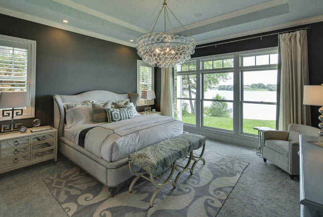 Bedroom with white tray ceiling and walls painted in Chelsea Gray by Benjamin Moore.