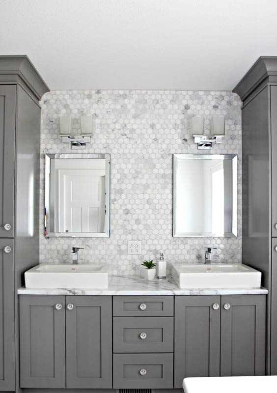 Beautiful, classic-modern bathroom with Chelsea Gray bathroom vanity and cabinets.
